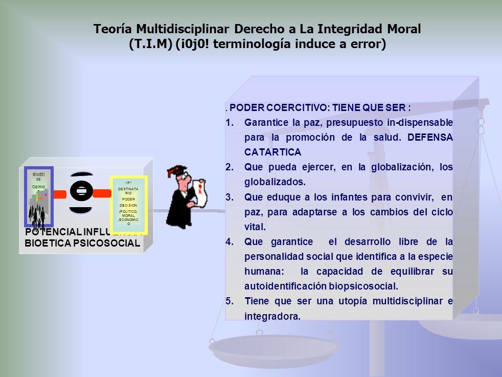 BioEtica psico-social multidisciplinar y coparticipada P DESTINATARIO PODER DECISION (POLITICO, MORAL, ECONOMICO) BioEtica Opinión publica Poder de re