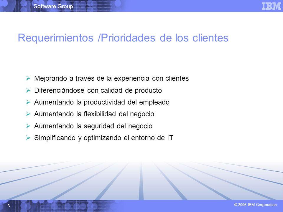 Software Group © 2006 IBM Corporation 3 Requerimientos /Prioridades de los clientes Mejorando a través de la experiencia con clientes Diferenciándose con calidad de producto Aumentando la productividad del empleado Aumentando la flexibilidad del negocio Aumentando la seguridad del negocio Simplificando y optimizando el entorno de IT