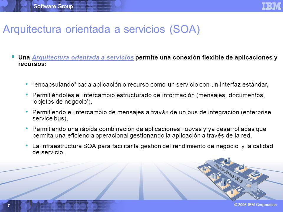 Software Group © 2006 IBM Corporation 7 Arquitectura orientada a servicios (SOA) Una Arquitectura orientada a servicios permite una conexión flexible