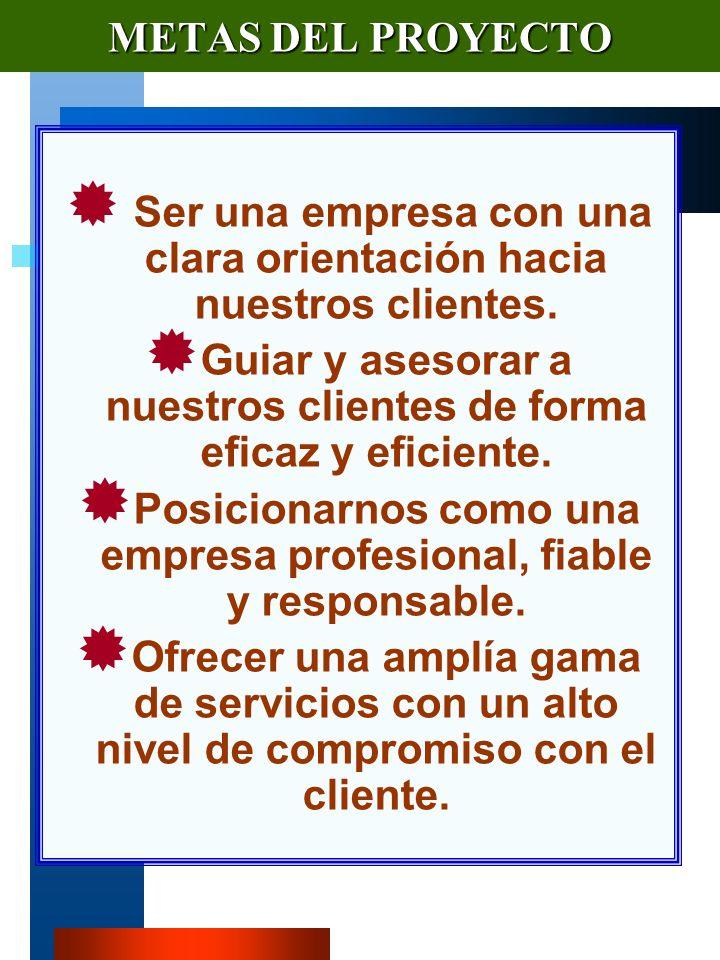 VM-PIR10 METAS DEL PROYECTO Ser una empresa con una clara orientación hacia nuestros clientes.