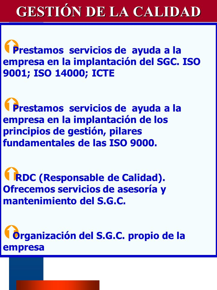 VM-PIR4 GESTIÓN DE LA CALIDAD Prestamos servicios de ayuda a la empresa en la implantación del SGC.
