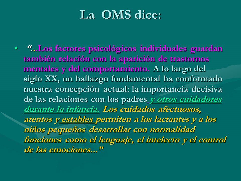 La OMS dice:...Los factores psicológicos individuales guardan también relación con la aparición de trastornos mentales y del comportamiento. A lo larg