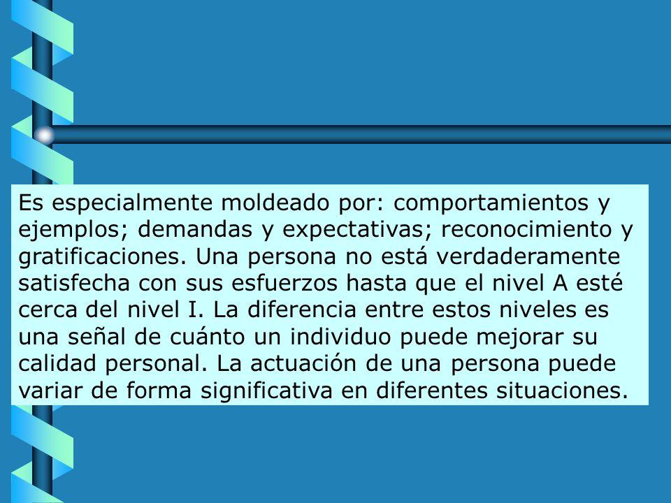 Es especialmente moldeado por: comportamientos y ejemplos; demandas y expectativas; reconocimiento y gratificaciones.