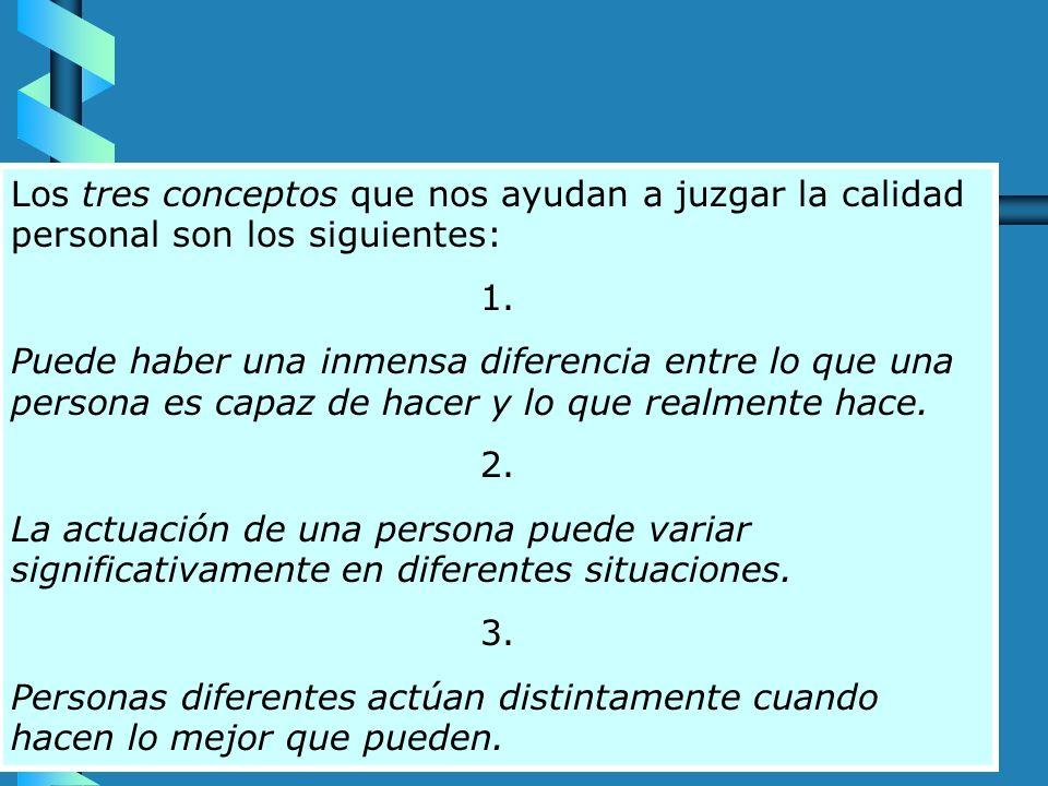 Los tres conceptos que nos ayudan a juzgar la calidad personal son los siguientes: 1.