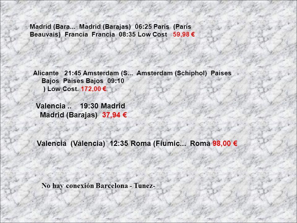Alicante 21:45 Amsterdam (S... Amsterdam (Schiphol) Paises Bajos Paises Bajos 09:10 ) Low Cost. 172,00 Madrid (Bara... Madrid (Barajas) 06:25 París (P