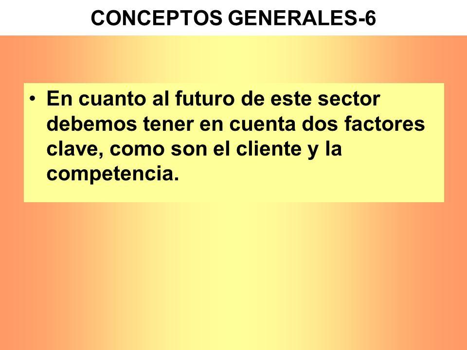 En cuanto al futuro de este sector debemos tener en cuenta dos factores clave, como son el cliente y la competencia. CONCEPTOS GENERALES-6