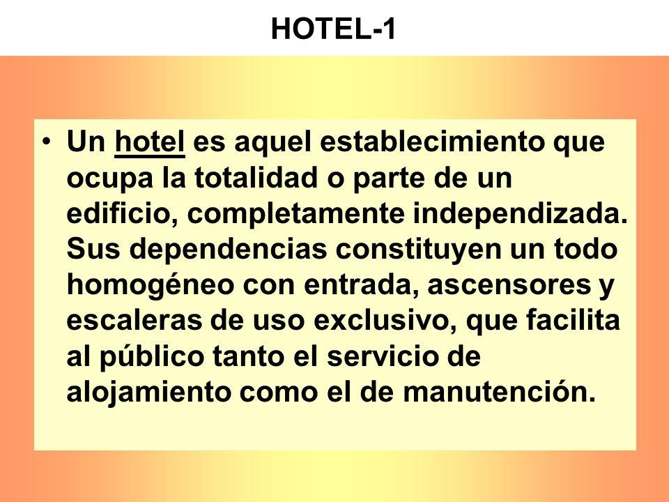 HOTEL-1 Un hotel es aquel establecimiento que ocupa la totalidad o parte de un edificio, completamente independizada. Sus dependencias constituyen un