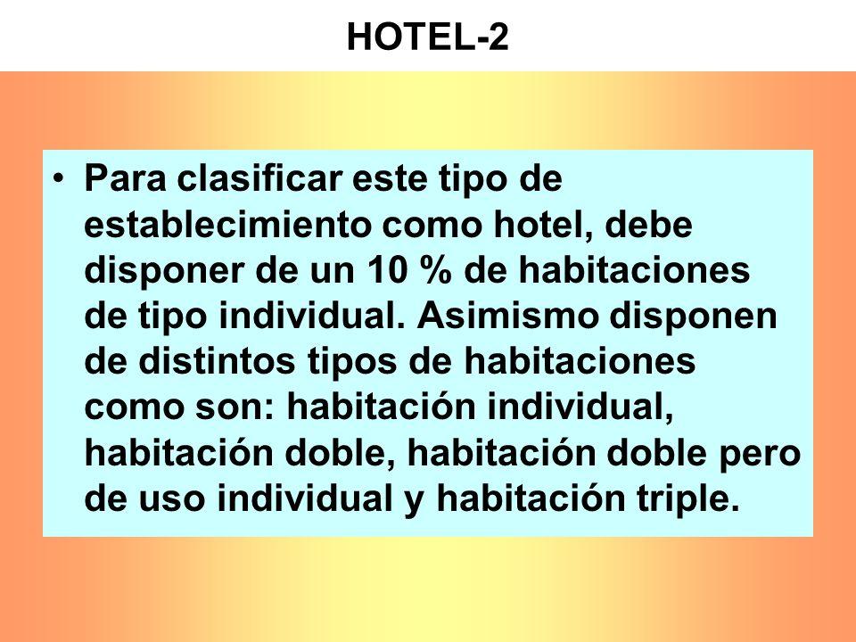 HOTEL-2 Para clasificar este tipo de establecimiento como hotel, debe disponer de un 10 % de habitaciones de tipo individual. Asimismo disponen de dis