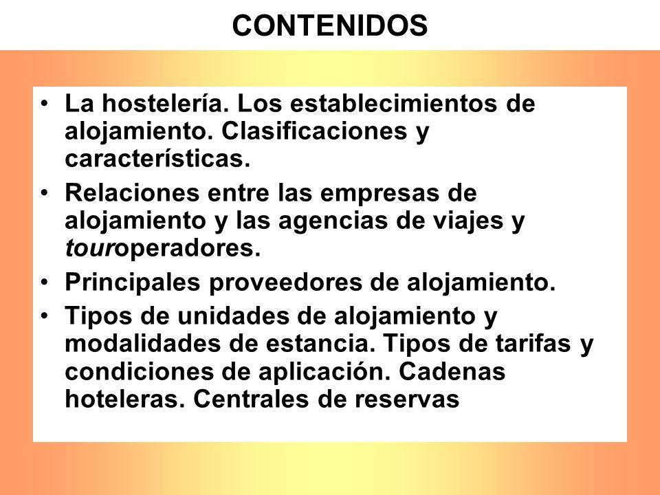CONTENIDOS La hostelería. Los establecimientos de alojamiento. Clasificaciones y características. Relaciones entre las empresas de alojamiento y las a