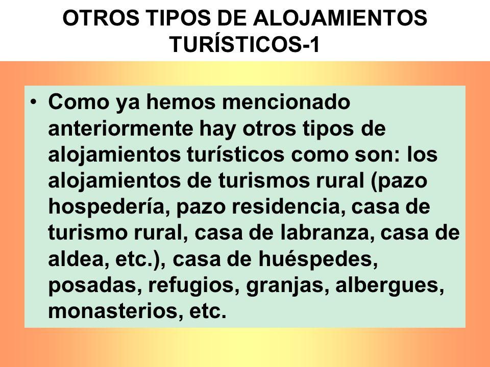 OTROS TIPOS DE ALOJAMIENTOS TURÍSTICOS-1 Como ya hemos mencionado anteriormente hay otros tipos de alojamientos turísticos como son: los alojamientos