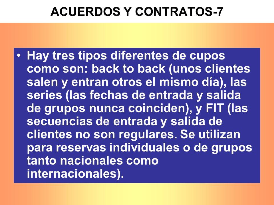 ACUERDOS Y CONTRATOS-7 Hay tres tipos diferentes de cupos como son: back to back (unos clientes salen y entran otros el mismo día), las series (las fe