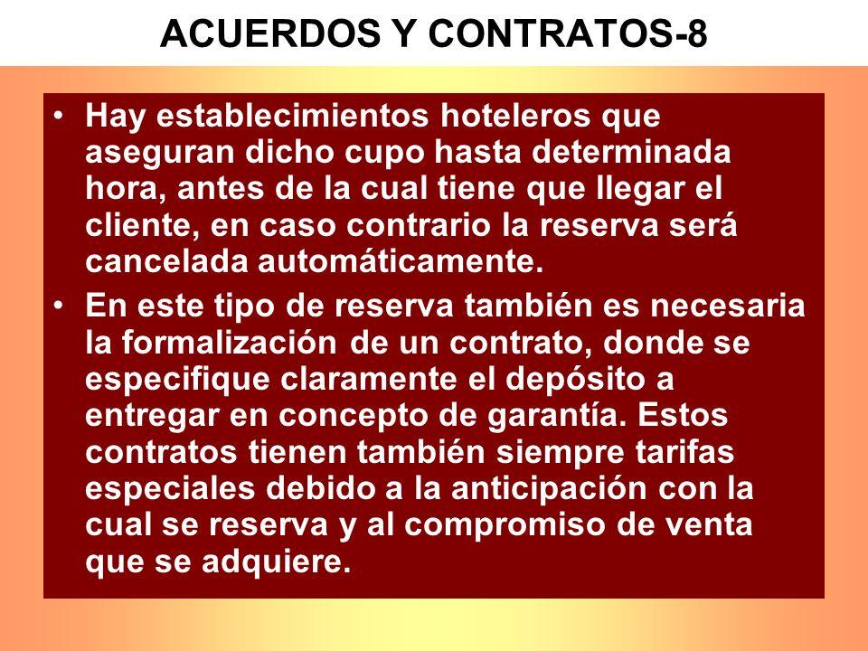 ACUERDOS Y CONTRATOS-8 Hay establecimientos hoteleros que aseguran dicho cupo hasta determinada hora, antes de la cual tiene que llegar el cliente, en