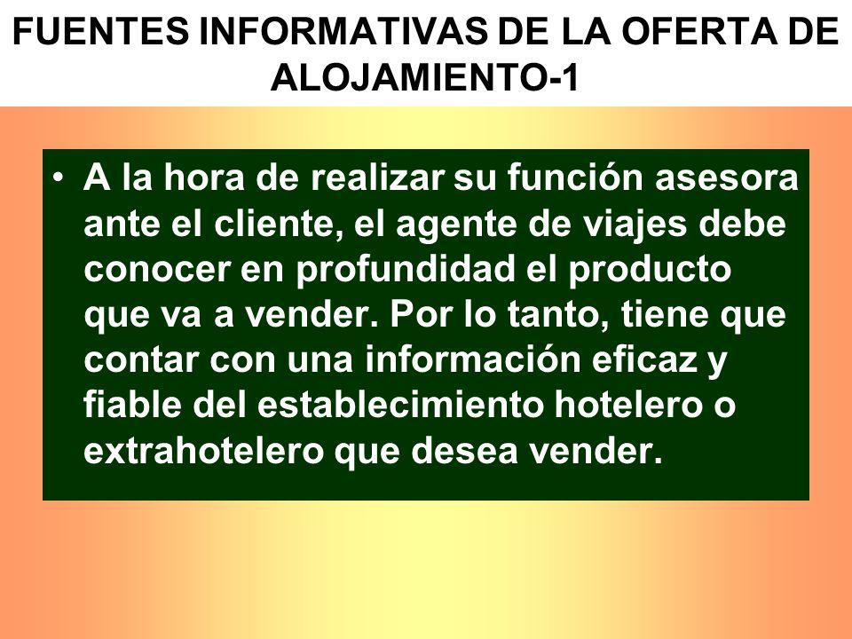 FUENTES INFORMATIVAS DE LA OFERTA DE ALOJAMIENTO-1 A la hora de realizar su función asesora ante el cliente, el agente de viajes debe conocer en profu