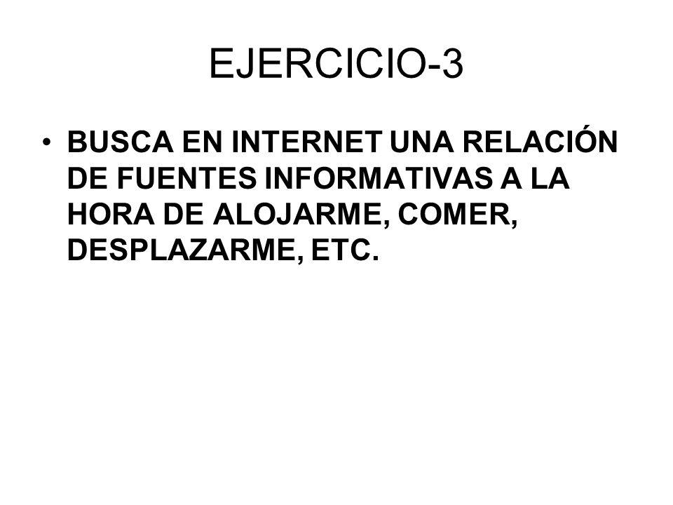 EJERCICIO-3 BUSCA EN INTERNET UNA RELACIÓN DE FUENTES INFORMATIVAS A LA HORA DE ALOJARME, COMER, DESPLAZARME, ETC.