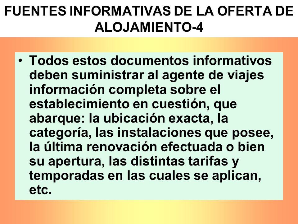 FUENTES INFORMATIVAS DE LA OFERTA DE ALOJAMIENTO-4 Todos estos documentos informativos deben suministrar al agente de viajes información completa sobr