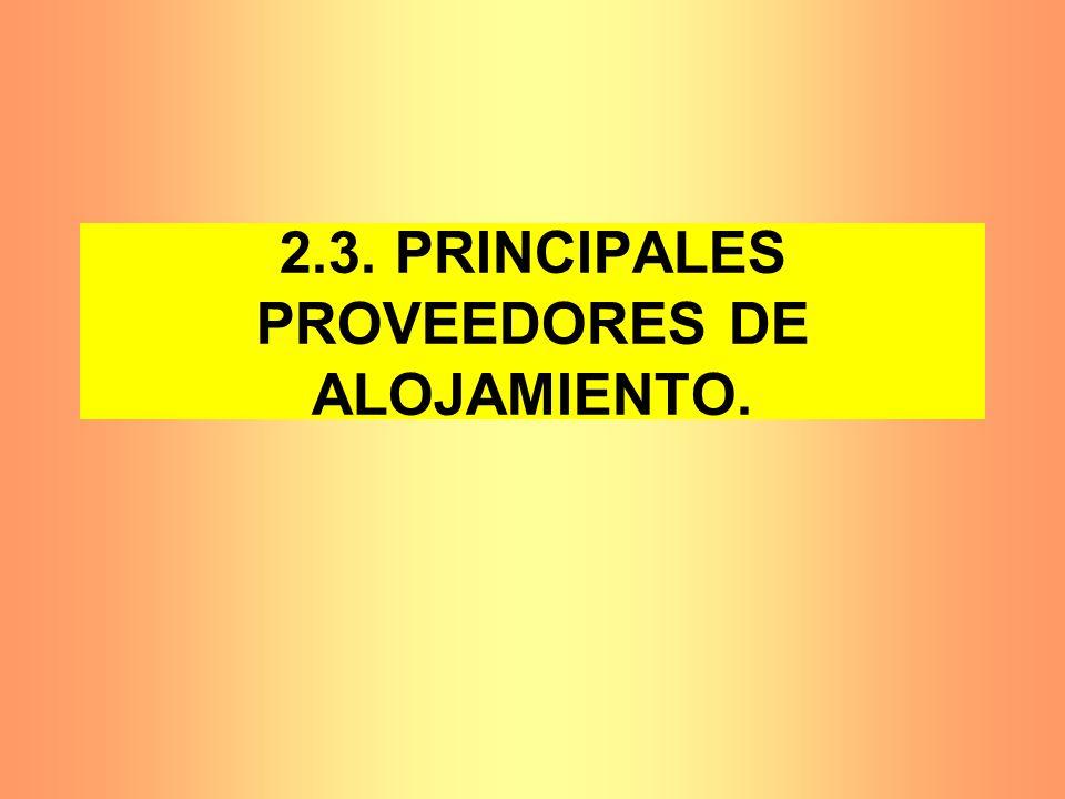 2.3. PRINCIPALES PROVEEDORES DE ALOJAMIENTO.