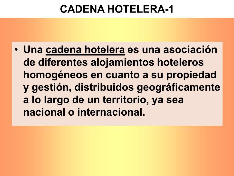 CADENA HOTELERA-1 Una cadena hotelera es una asociación de diferentes alojamientos hoteleros homogéneos en cuanto a su propiedad y gestión, distribuid