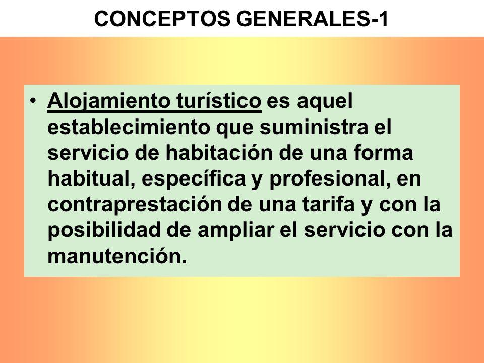 CONCEPTOS GENERALES-1 Alojamiento turístico es aquel establecimiento que suministra el servicio de habitación de una forma habitual, específica y prof