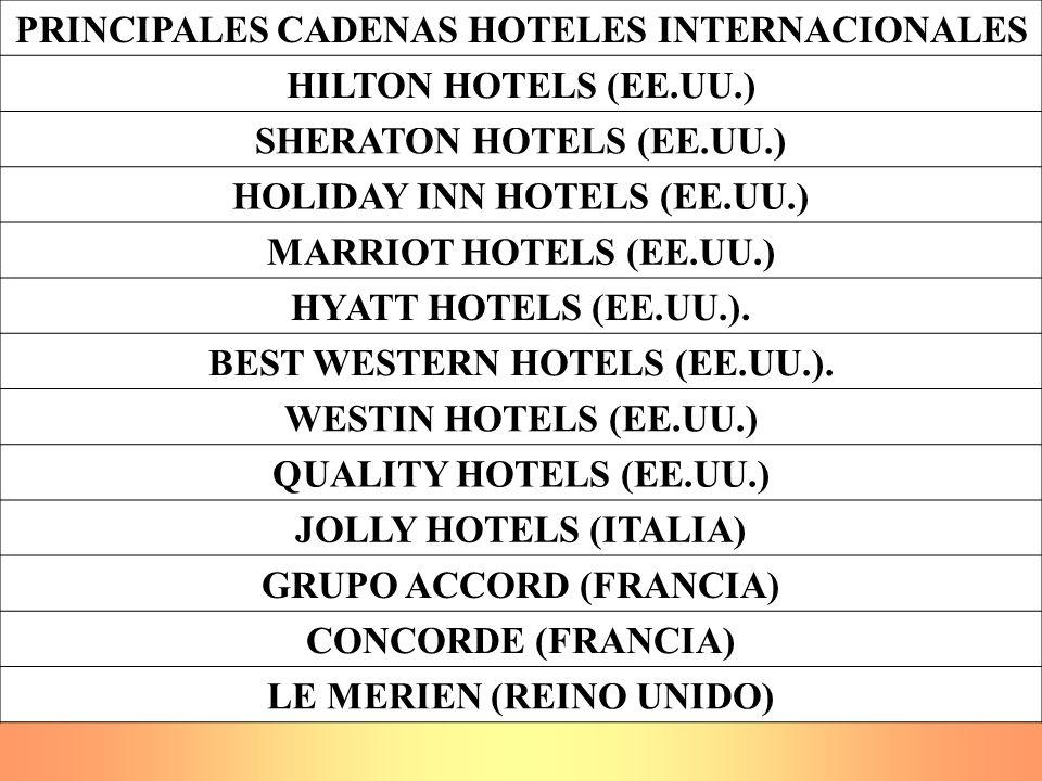 PRINCIPALES CADENAS HOTELES INTERNACIONALES HILTON HOTELS (EE.UU.) SHERATON HOTELS (EE.UU.) HOLIDAY INN HOTELS (EE.UU.) MARRIOT HOTELS (EE.UU.) HYATT