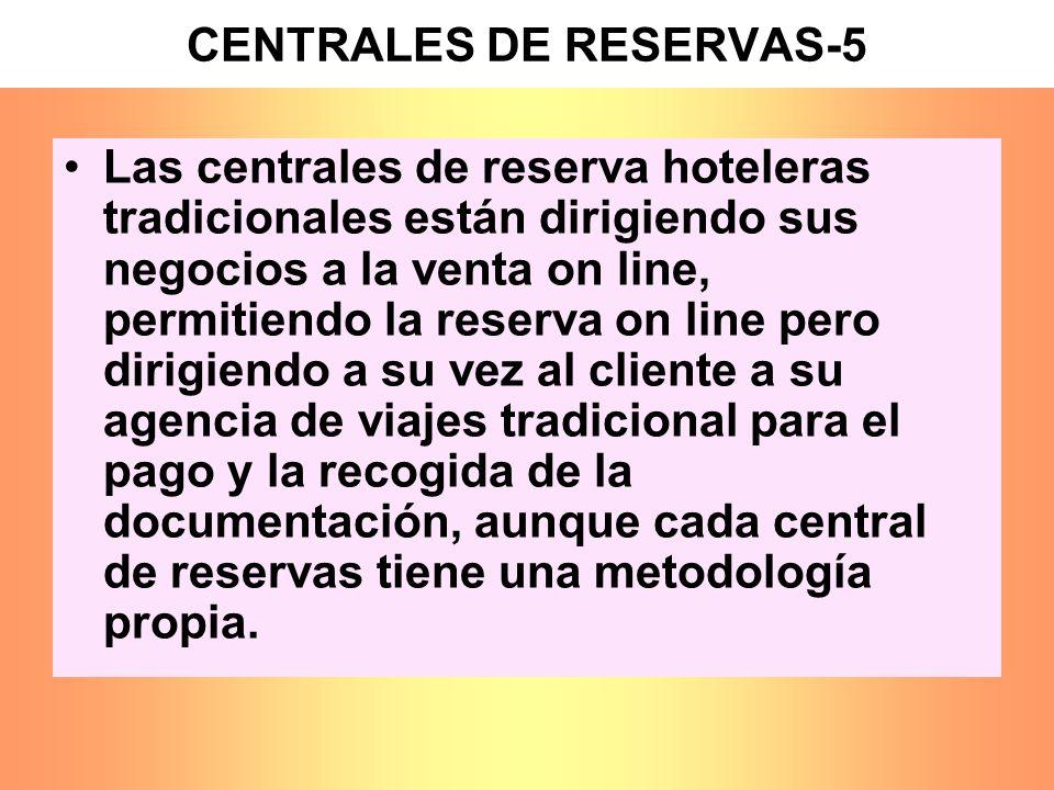 CENTRALES DE RESERVAS-5 Las centrales de reserva hoteleras tradicionales están dirigiendo sus negocios a la venta on line, permitiendo la reserva on l