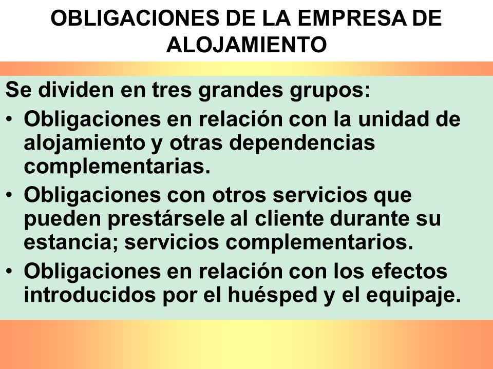OBLIGACIONES DE LA EMPRESA DE ALOJAMIENTO Se dividen en tres grandes grupos: Obligaciones en relación con la unidad de alojamiento y otras dependencia
