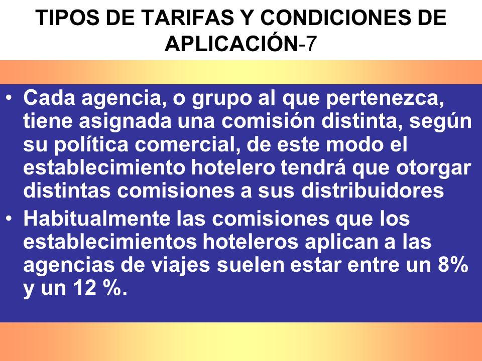 Cada agencia, o grupo al que pertenezca, tiene asignada una comisión distinta, según su política comercial, de este modo el establecimiento hotelero t