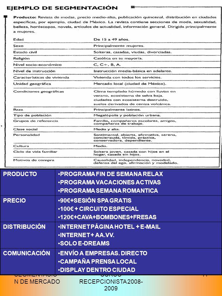 SEGMENTACIÓ N DE MERCADO CURSO RECEPCIONISTA 2008- 2009 11 PRODUCTOPROGRAMA FIN DE SEMANA RELAX PROGRAMA VACACIONES ACTIVAS PROGRAMA SEMANA ROMANTICA