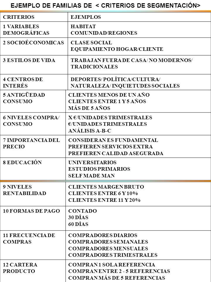 SEGMENTACIÓ N DE MERCADO CURSO RECEPCIONISTA 2008- 2009 14 EJEMPLO DE FAMILIAS DE CRITERIOSEJEMPLOS 1 VARIABLES DEMOGRÁFICAS HABITAT COMUNIDAD/REGIONE