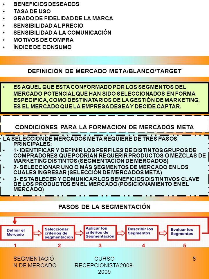 SEGMENTACIÓ N DE MERCADO CURSO RECEPCIONISTA 2008- 2009 8 DEFINICIÓN DE MERCADO META/BLANCO/TARGET BENEFICIOS DESEADOS TASA DE USO GRADO DE FIDELIDAD