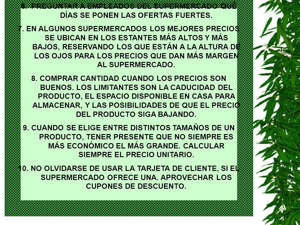 EL COMOFELIZ 20022 1.IR AL SUPERMERCADO UNA SOLA VEZ POR SEMANA.