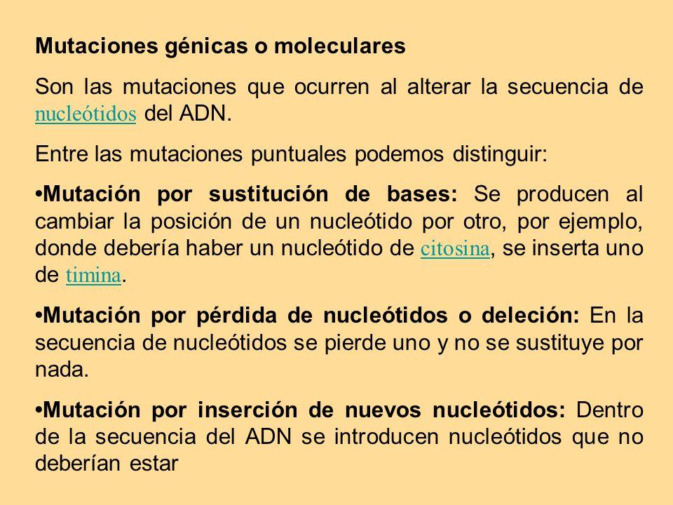 Mutaciones génicas o moleculares Son las mutaciones que ocurren al alterar la secuencia de nucleótidos del ADN. nucleótidos Entre las mutaciones puntu