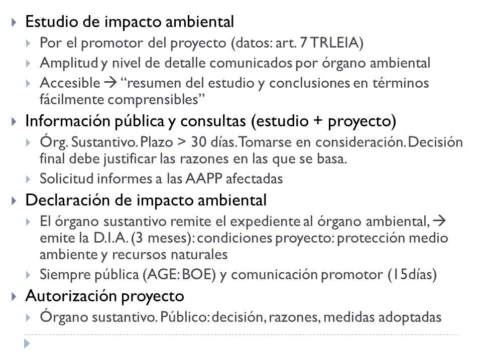 Estudio de impacto ambiental Por el promotor del proyecto (datos: art.