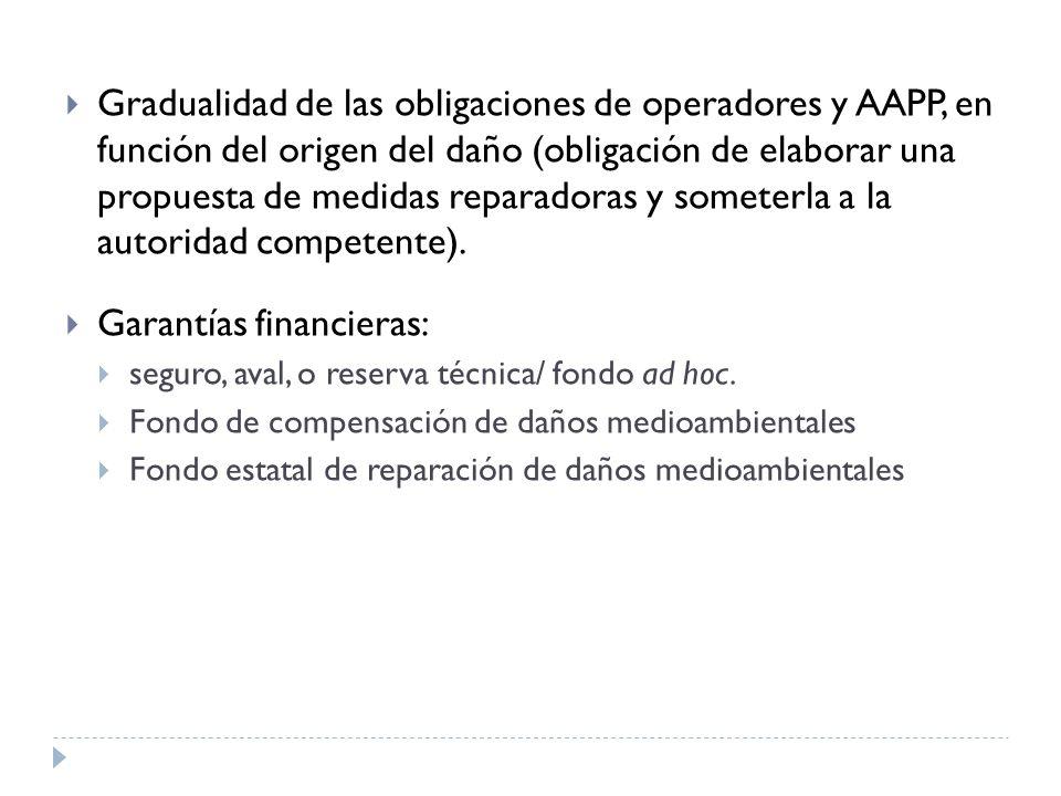 Gradualidad de las obligaciones de operadores y AAPP, en función del origen del daño (obligación de elaborar una propuesta de medidas reparadoras y someterla a la autoridad competente).