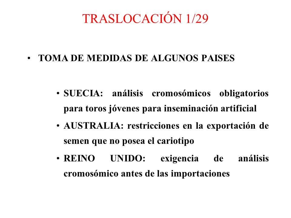 TRASLOCACIÓN 1/29 TOMA DE MEDIDAS DE ALGUNOS PAISES SUECIA: análisis cromosómicos obligatorios para toros jóvenes para inseminación artificial AUSTRAL