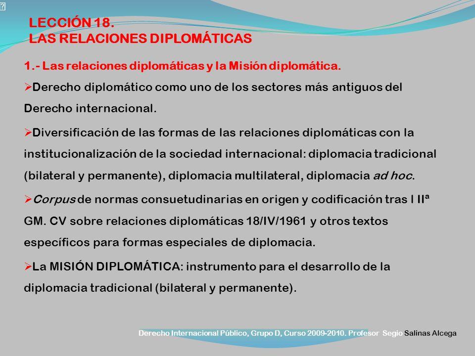 Derecho Internacional Público, Grupo D, Curso 2009-2010. Profesor Segio Salinas Alcega 1.- Las relaciones diplomáticas y la Misión diplomática. Derech