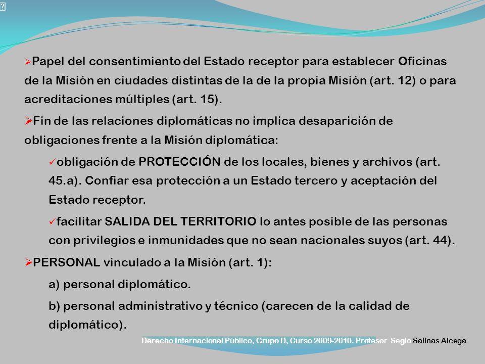 Derecho Internacional Público, Grupo D, Curso 2009-2010. Profesor Segio Salinas Alcega Papel del consentimiento del Estado receptor para establecer Of