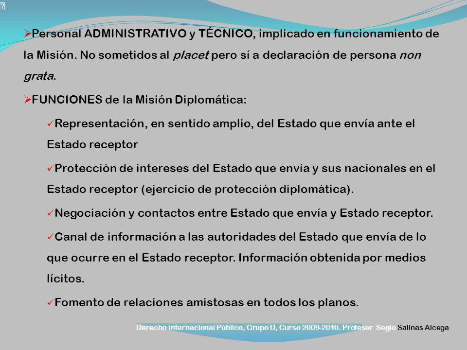 Derecho Internacional Público, Grupo D, Curso 2009-2010. Profesor Segio Salinas Alcega Personal ADMINISTRATIVO y TÉCNICO, implicado en funcionamiento
