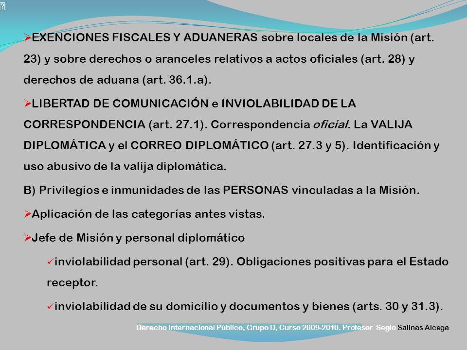Derecho Internacional Público, Grupo D, Curso 2009-2010. Profesor Segio Salinas Alcega EXENCIONES FISCALES Y ADUANERAS sobre locales de la Misión (art