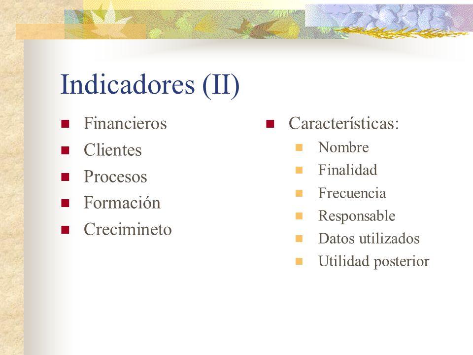 Indicadores (II) Financieros Clientes Procesos Formación Crecimineto Características: Nombre Finalidad Frecuencia Responsable Datos utilizados Utilida