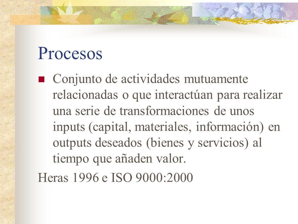 Procesos Conjunto de actividades mutuamente relacionadas o que interactúan para realizar una serie de transformaciones de unos inputs (capital, materi