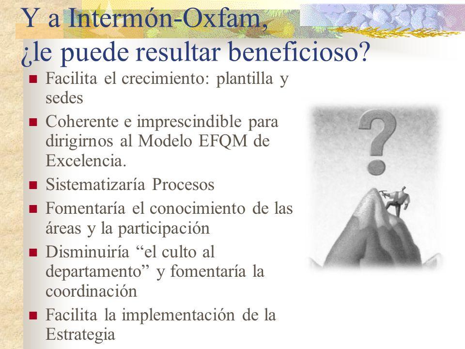 Y a Intermón-Oxfam, ¿le puede resultar beneficioso? Facilita el crecimiento: plantilla y sedes Coherente e imprescindible para dirigirnos al Modelo EF
