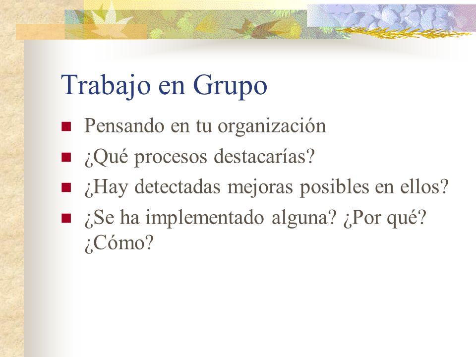 Trabajo en Grupo Pensando en tu organización ¿Qué procesos destacarías? ¿Hay detectadas mejoras posibles en ellos? ¿Se ha implementado alguna? ¿Por qu