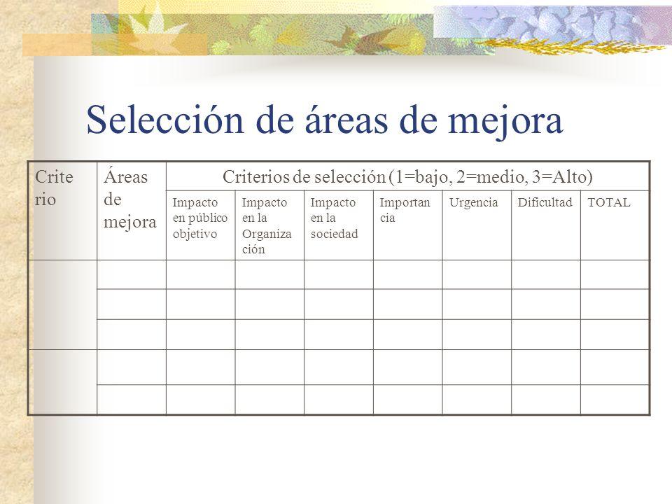 Selección de áreas de mejora Crite rio Áreas de mejora Criterios de selección (1=bajo, 2=medio, 3=Alto) Impacto en público objetivo Impacto en la Orga