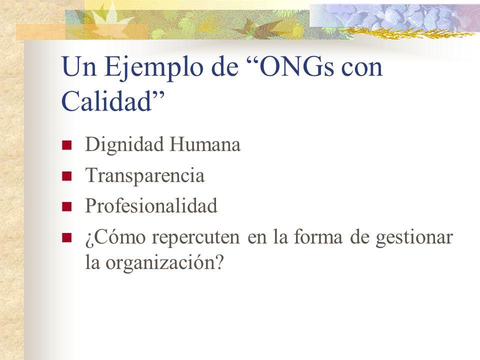 Un Ejemplo de ONGs con Calidad Dignidad Humana Transparencia Profesionalidad ¿Cómo repercuten en la forma de gestionar la organización?