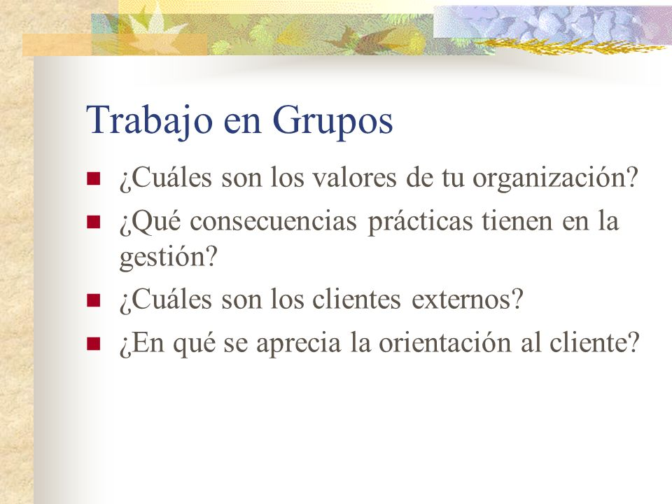 Trabajo en Grupos ¿Cuáles son los valores de tu organización? ¿Qué consecuencias prácticas tienen en la gestión? ¿Cuáles son los clientes externos? ¿E