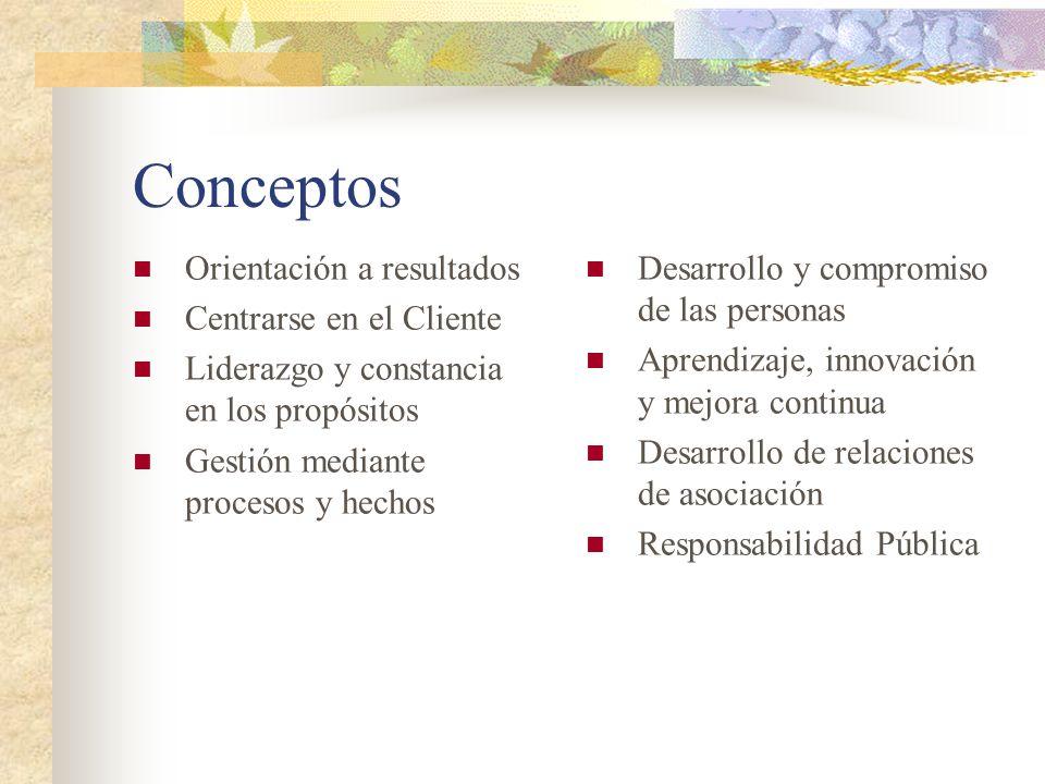 Conceptos Orientación a resultados Centrarse en el Cliente Liderazgo y constancia en los propósitos Gestión mediante procesos y hechos Desarrollo y co