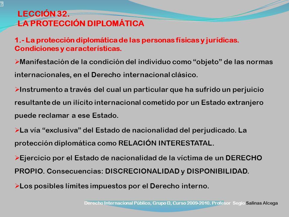 Derecho Internacional Público, Grupo D, Curso 2009-2010. Profesor Segio Salinas Alcega 1.- La protección diplomática de las personas físicas y jurídic