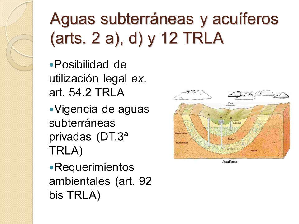Aguas subterráneas y acuíferos (arts. 2 a), d) y 12 TRLA Posibilidad de utilización legal ex. art. 54.2 TRLA Vigencia de aguas subterráneas privadas (