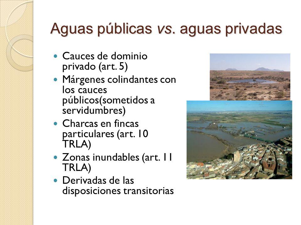 Aguas públicas vs. aguas privadas Cauces de dominio privado (art. 5) Márgenes colindantes con los cauces públicos(sometidos a servidumbres) Charcas en
