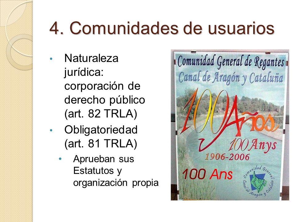 4. Comunidades de usuarios Naturaleza jurídica: corporación de derecho público (art. 82 TRLA) Obligatoriedad (art. 81 TRLA) Aprueban sus Estatutos y o